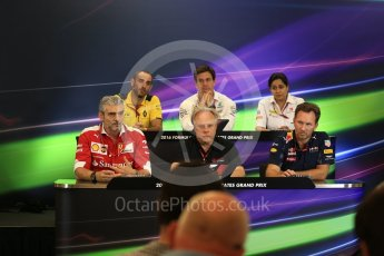 World © Octane Photographic Ltd. F1 USA Grand Prix Practice 2, Austin Texas – Circuit of the Americas (COTA) FIA Personnel Press Conference. Friday 21st October 2016. Cyril Abiteboul - Renault Sport F1 Team Managing Director, Maurizio Arrivabene – Scuderia Ferrari Team Principal, Gene Haas - Haas F1 Team Owner, Christian Horner - Red Bull Racing Team Principal, Monisha Kaltenborn – Sauber F1 Team Team Principal, Toto Wolff - Mercedes AMG Petronas Executive Director. Digital Ref :1744LB2D5271
