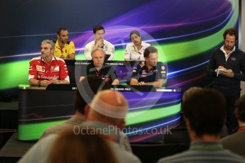 World © Octane Photographic Ltd. F1 USA Grand Prix Practice 2, Austin Texas – Circuit of the Americas (COTA) FIA Personnel Press Conference. Friday 21st October 2016. Cyril Abiteboul - Renault Sport F1 Team Managing Director, Maurizio Arrivabene – Scuderia Ferrari Team Principal, Gene Haas - Haas F1 Team Owner, Christian Horner - Red Bull Racing Team Principal, Monisha Kaltenborn – Sauber F1 Team Team Principal, Toto Wolff - Mercedes AMG Petronas Executive Director. Digital Ref :1744LB2D5276