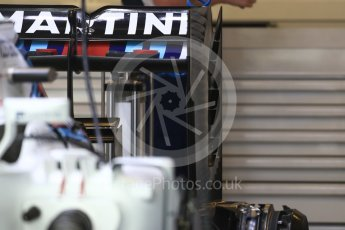 World © Octane Photographic Ltd. Williams Martini Racing, Williams Mercedes FW38 rear wing. Thursday 20th October 2016, F1 USA Grand Prix, Austin, Texas – Circuit of the Americas (COTA). Digital Ref :