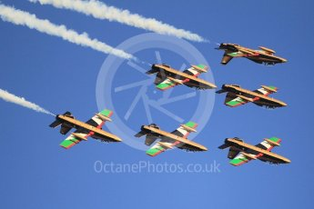 World © Octane Photographic Ltd. UAE Al Fursan (The Knights) Air Display Team – Aermacchi MB-339A. Saturday 25th November 2017, F1 Abu Dhabi GP - Yas Marina circuit, Abu Dhabi. Digital Ref : -2011CB1L7932