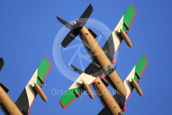 World © Octane Photographic Ltd. UAE Al Fursan (The Knights) Air Display Team – Aermacchi MB-339A. Saturday 25th November 2017, F1 Abu Dhabi GP - Yas Marina circuit, Abu Dhabi. Digital Ref : 2011CB1L8166