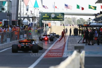 World © Octane Photographic Ltd. Formula 1 - Abu Dhabi Grand Prix - Friday Practice 1. The teams head out to start the session Yas Marina Circuit, Abu Dhabi. Friday 24th November 2017. Digital Ref: