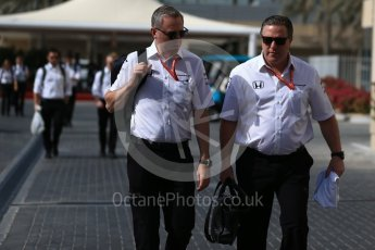 World © Octane Photographic Ltd. Formula 1 - Abu Dhabi Grand Prix - Paddock. Zak Brown - Executive Director of McLaren Technology Group and John Cooper - Commercial and Financial Director. Yas Marina Circuit, Abu Dhabi. Friday 24th November 2017. Digital Ref:1998LB2D7803