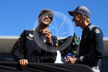 World © Octane Photographic Ltd. Formula 1 - American Grand Prix - Sunday - Drivers Parade. Daniel Ricciardo - Red Bull Racing and Brendon Hartley - Scuderia Toro Rosso. Circuit of the Americas, Austin, Texas, USA. Sunday 22nd October 2017. Digital Ref: 1993LB1D8879