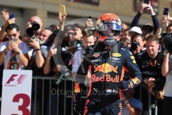 World © Octane Photographic Ltd. Formula 1 - American Grand Prix - Sunday - Race Podium. Max Verstappen - Red Bull Racing RB13. Circuit of the Americas, Austin, Texas, USA. Sunday 22nd October 2017. Digital Ref: 1995LB1D0141