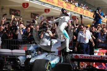 World © Octane Photographic Ltd. Formula 1 - American Grand Prix - Sunday - Race Podium. Lewis Hamilton - Mercedes AMG Petronas F1 W08 EQ Energy+. Circuit of the Americas, Austin, Texas, USA. Sunday 22nd October 2017. Digital Ref: 1995LB1D0239