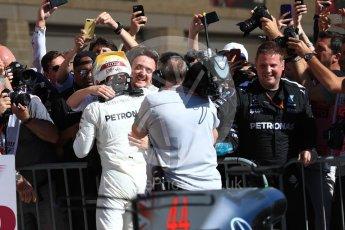 World © Octane Photographic Ltd. Formula 1 - American Grand Prix - Sunday - Race Podium. Lewis Hamilton - Mercedes AMG Petronas F1 W08 EQ Energy+. Circuit of the Americas, Austin, Texas, USA. Sunday 22nd October 2017. Digital Ref: 1995LB1D0311