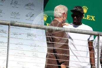 World © Octane Photographic Ltd. Formula 1 - American Grand Prix - Sunday - Race Podium. Bill Clinton and Usain Bolt. Circuit of the Americas, Austin, Texas, USA. Sunday 22nd October 2017. Digital Ref: 1995LB1D0709