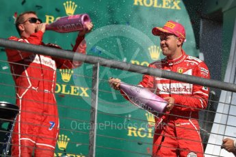 World © Octane Photographic Ltd. Formula 1 - American Grand Prix - Sunday - Race Podium. Sebastian Vettel and Kimi Raikkonen - Scuderia Ferrari SF70H. Circuit of the Americas, Austin, Texas, USA. Sunday 22nd October 2017. Digital Ref: 1995LB1D0891