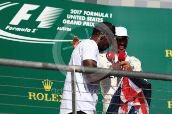 World © Octane Photographic Ltd. Formula 1 - American Grand Prix - Sunday - Race Podium. Lewis Hamilton - Mercedes AMG Petronas F1 W08 EQ Energy+ and Usain Bolt. Circuit of the Americas, Austin, Texas, USA. Sunday 22nd October 2017. Digital Ref: 1995LB1D1032