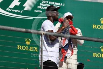 World © Octane Photographic Ltd. Formula 1 - American Grand Prix - Sunday - Race Podium. Lewis Hamilton - Mercedes AMG Petronas F1 W08 EQ Energy+ and Usain Bolt. Circuit of the Americas, Austin, Texas, USA. Sunday 22nd October 2017. Digital Ref: 1995LB1D1039