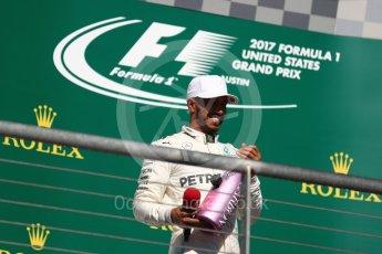 World © Octane Photographic Ltd. Formula 1 - American Grand Prix - Sunday - Race Podium. Lewis Hamilton - Mercedes AMG Petronas F1 W08 EQ Energy+. Circuit of the Americas, Austin, Texas, USA. Sunday 22nd October 2017. Digital Ref: 1995LB1D1154