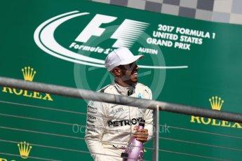 World © Octane Photographic Ltd. Formula 1 - American Grand Prix - Sunday - Race Podium. Lewis Hamilton - Mercedes AMG Petronas F1 W08 EQ Energy+. Circuit of the Americas, Austin, Texas, USA. Sunday 22nd October 2017. Digital Ref: 1995LB1D1177