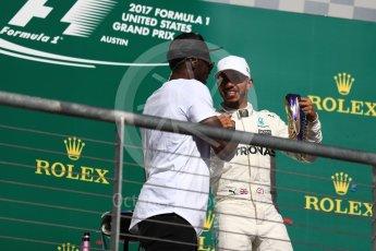 World © Octane Photographic Ltd. Formula 1 - American Grand Prix - Sunday - Race Podium. Lewis Hamilton - Mercedes AMG Petronas F1 W08 EQ Energy+ and Usain Bolt. Circuit of the Americas, Austin, Texas, USA. Sunday 22nd October 2017. Digital Ref: 1995LB1D1233
