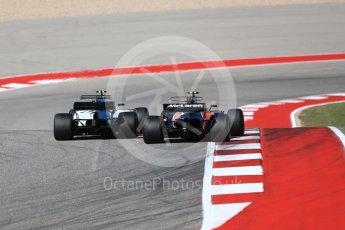 World © Octane Photographic Ltd. Formula 1 - American Grand Prix - Sunday - Race. Lance Stroll - Williams Martini Racing FW40 and Stoffel Vandoorne - McLaren Honda. Circuit of the Americas, Austin, Texas, USA. Sunday 22nd October 2017. Digital Ref: 1994LB1D0005