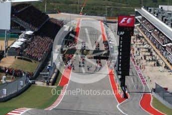 World © Octane Photographic Ltd. Formula 1 - American Grand Prix - Sunday - Race. Lewis Hamilton - Mercedes AMG Petronas F1 W08 EQ Energy+ starts on pole, with Usain Bolt signature move. Circuit of the Americas, Austin, Texas, USA. Sunday 22nd October 2017. Digital Ref: 1994LB2D7145