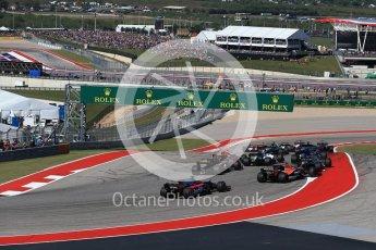 World © Octane Photographic Ltd. Formula 1 - American Grand Prix - Sunday - Race. The Grid exits Turn 1. Circuit of the Americas, Austin, Texas, USA. Sunday 22nd October 2017. Digital Ref: 1994LB2D7267
