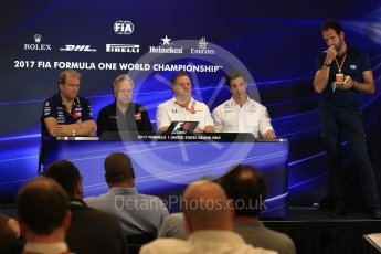 World © Octane Photographic Ltd. Formula 1 - American Grand Prix – Friday Team Press Conference. Zak Brown - Executive Director of McLaren Technology Group, Robert Fernley - Deputy Team Principal of Sahara Force India, Gene Haas - Founder and Chairman of Haas F1 Team and Toto Wolff - Executive Director & Head of Mercedes-Benz Motorsport. Circuit of the Americas, Austin, Texas, USA. Friday 20th October 2017. Digital Ref: 1988LB2D6557
