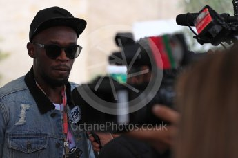 World © Octane Photographic Ltd. Formula 1 - American Grand Prix - Sunday - Paddock. Usain Bolt meets with the media. Circuit of the Americas, Austin, Texas, USA. Sunday 22nd October 2017. Digital Ref: 1992LB1D8252