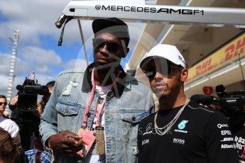 World © Octane Photographic Ltd. Formula 1 - American Grand Prix - Sunday - Paddock. Lewis Hamilton takes Usain Bolt on a Hot Lap of COTA. Circuit of the Americas, Austin, Texas, USA. Sunday 22nd October 2017. Digital Ref: 1992LB2D6814