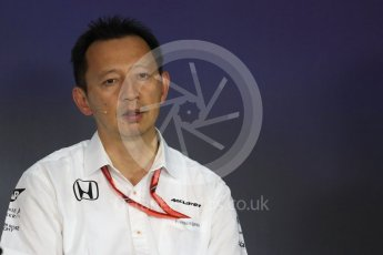 World © Octane Photographic Ltd. Formula 1 - Austria Grand Prix - FIA Team Press Conference, Part 1. Yusuke Hasegawa – Chief of Honda F1 project. Red Bull Ring, Spielberg, Austria. Friday 7th July 2017. Digital Ref: 1866LB1D1448