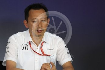 World © Octane Photographic Ltd. Formula 1 - Austria Grand Prix - FIA Team Press Conference, Part 1. Yusuke Hasegawa – Chief of Honda F1 project. Red Bull Ring, Spielberg, Austria. Friday 7th July 2017. Digital Ref: 1866LB1D1516