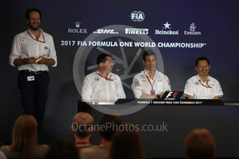 World © Octane Photographic Ltd. Formula 1 - Austria Grand Prix – FIA Team Press Conference, Part 1. Eric Boullier - Racing Director of McLaren Honda, Yusuke Hasegawa – Chief of Honda F1 project and Toto Wolff - Executive Director & Head of Mercedes-Benz Motorsport. Red Bull Ring, Spielberg, Austria. Friday 7th July 2017. Digital Ref: 1866LB2D5735