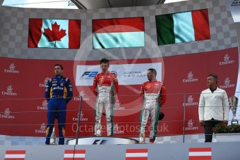 World © Octane Photographic Ltd. Formula 1 - Austria Grand Prix - Saturday - FIA Formula 2 Race 1. Charles Leclerc - PREMA Racing, Nicholas Latifi - DAMS and Antonio Fuoco - PREMA Racing. Red Bull Ring, Spielberg, Austria. Saturday 8th July 2017. Digital Ref: 1863LB1D3252