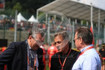World © Octane Photographic Ltd. Formula 1 - Belgian Grand Prix - Grid. Jean Alesi and Pierre Yves Jeholet - Minister for the Economy. Circuit de Spa Francorchamps, Belgium. Sunday 27th August 2017. Digital Ref:1932LB1D8317