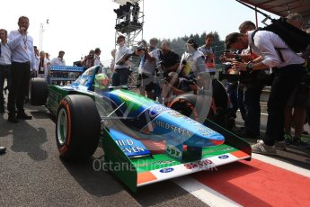 World © Octane Photographic Ltd. Formula 1 - Belgian Grand Prix - Sunday Demo Laps. Mick Schumacher driving his father's (Michael Schumacher) 1st championship winning Benetton Ford B194 on the 25th Anniversary of his 1st win. Circuit de Francorchamps, Belgium. Sunday 27th August 2017. Digital Ref:1932LB2D7131