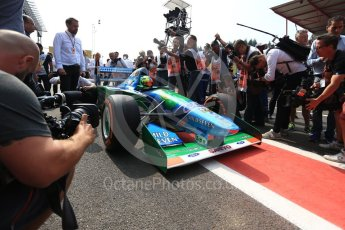 World © Octane Photographic Ltd. Formula 1 - Belgian Grand Prix - Sunday Demo Laps. Mick Schumacher driving his father's (Michael Schumacher) 1st championship winning Benetton Ford B194 on the 25th Anniversary of his 1st win. Circuit de Francorchamps, Belgium. Sunday 27th August 2017. Digital Ref:1932LB2D7136