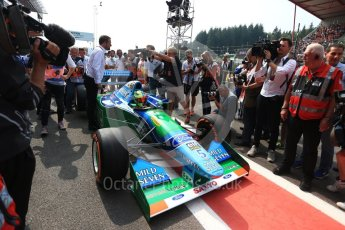 World © Octane Photographic Ltd. Formula 1 - Belgian Grand Prix - Sunday Demo Laps. Mick Schumacher driving his father's (Michael Schumacher) 1st championship winning Benetton Ford B194 on the 25th Anniversary of his 1st win. Circuit de Francorchamps, Belgium. Sunday 27th August 2017. Digital Ref:1932LB2D7143