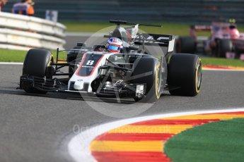 World © Octane Photographic Ltd. Formula 1 - Belgian Grand Prix - Friday - Practice 1. Romain Grosjean - Haas F1 Team VF-17 and Esteban Ocon - Sahara Force India VJM10. Circuit de Spa Francorchamps, Belgium. Friday 25th August 2017. Digital Ref:1922LB1D4791