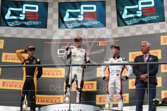 World © Octane Photographic Ltd. GP3 - Race 1. George Russell (1st), Jack Aitken (2nd) and Nirei Fukuzumi (3rd) - ART Grand Prix. Belgian Grand Pix - Spa Francorchamps, Belgium. Saturday 26th August 2017. Digital Ref:1927LB1D7452