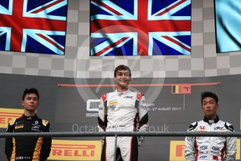 World © Octane Photographic Ltd. GP3 - Race 1. George Russell (1st), Jack Aitken (2nd) and Nirei Fukuzumi (3rd) - ART Grand Prix. Belgian Grand Pix - Spa Francorchamps, Belgium. Saturday 26th August 2017. Digital Ref:1927LB1D7475