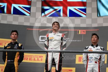 World © Octane Photographic Ltd. GP3 - Race 1. George Russell (1st), Jack Aitken (2nd) and Nirei Fukuzumi (3rd) - ART Grand Prix. Belgian Grand Pix - Spa Francorchamps, Belgium. Saturday 26th August 2017. Digital Ref:1927LB1D7489