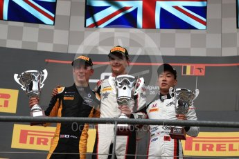 World © Octane Photographic Ltd. GP3 - Race 1. George Russell (1st), Jack Aitken (2nd) and Nirei Fukuzumi (3rd) - ART Grand Prix. Belgian Grand Pix - Spa Francorchamps, Belgium. Saturday 26th August 2017. Digital Ref:1927LB1D7572