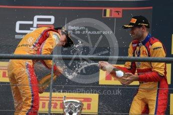 World © Octane Photographic Ltd. GP3 - Race 2. Guiliano Alsei (1st) – Trident and Ryan Tveter (3rd) – Trident. Belgian Grand Pix - Spa Francorchamps, Belgium. Sunday 27th August 2017. Digital Ref: 1930LB1D7762