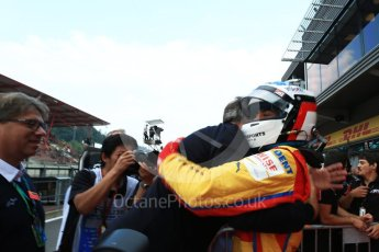 World © Octane Photographic Ltd. GP3 - Race 2. Guiliano Alsei with father Jean – Trident. Belgian Grand Pix - Spa Francorchamps, Belgium. Sunday 27th August 2017. Digital Ref: 1930LB2D7074
