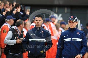 World © Octane Photographic Ltd. Formula 1 - British Grand Prix - Sunday - Drivers Parade. Marcus Ericsson and Pascal Wehrlein – Sauber F1 Team C36. Silverstone, UK. Sunday 16th July 2017. Digital Ref: 1891LB1D3441