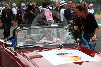 World © Octane Photographic Ltd. Formula 1 - British Grand Prix - Sunday - Drivers Parade. Sebastian Vettel - Scuderia Ferrari SF70H. Silverstone, UK. Sunday 16th July 2017. Digital Ref: 1891LB1D3558