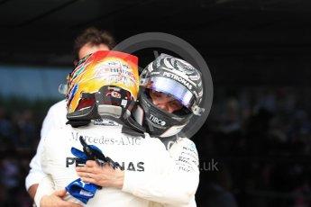World © Octane Photographic Ltd. Formula 1 - British Grand Prix - Sunday - Race Podium. Lewis Hamilton and Valtteri Bottas Mercedes AMG Petronas F1 W08 EQ Energy+. Silverstone, UK. Sunday 16th July 2017. Digital Ref: 1893LB1D4492