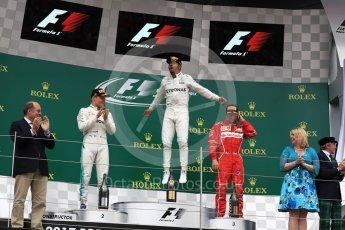 World © Octane Photographic Ltd. Formula 1 - British Grand Prix - Sunday - Race Podium. Lewis Hamilton and Valtteri Bottas - Mercedes AMG Petronas F1 W08 EQ Energy+ and Kimi Raikkonen - Scuderia Ferrari SF70H. Silverstone, UK. Sunday 16th July 2017. Digital Ref: 1893LB1D4678