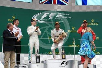 World © Octane Photographic Ltd. Formula 1 - British Grand Prix - Sunday - Race Podium. Lewis Hamilton and Valtteri Bottas - Mercedes AMG Petronas F1 W08 EQ Energy+ and Kimi Raikkonen - Scuderia Ferrari SF70H. Silverstone, UK. Sunday 16th July 2017. Digital Ref: 1893LB1D4847