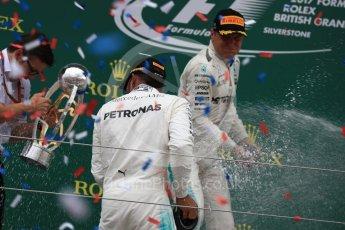 World © Octane Photographic Ltd. Formula 1 - British Grand Prix - Sunday - Race Podium. Lewis Hamilton and Valtteri Bottas Mercedes AMG Petronas F1 W08 EQ Energy+. Silverstone, UK. Sunday 16th July 2017. Digital Ref: 1893LB1D4977
