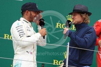 World © Octane Photographic Ltd. Formula 1 - British Grand Prix - Sunday - Race Podium. Lewis Hamilton - Mercedes AMG Petronas F1 W08 EQ Energy+ and Owen Wilson. Silverstone, UK. Sunday 16th July 2017. Digital Ref: 1893LB1D5200