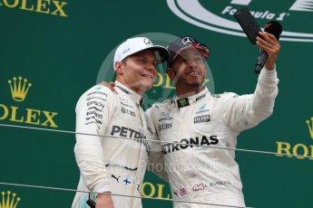 World © Octane Photographic Ltd. Formula 1 - British Grand Prix - Sunday - Race Podium. Lewis Hamilton and Valtteri Bottas Mercedes AMG Petronas F1 W08 EQ Energy+. Silverstone, UK. Sunday 16th July 2017. Digital Ref: 1893LB1D5303