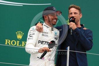 World © Octane Photographic Ltd. Formula 1 - British Grand Prix - Sunday - Race Podium. Lewis Hamilton - Mercedes AMG Petronas F1 W08 EQ Energy+ and Jenson Button. Silverstone, UK. Sunday 16th July 2017. Digital Ref: 1893LB1D5337