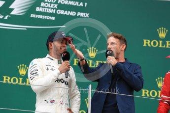 World © Octane Photographic Ltd. Formula 1 - British Grand Prix - Sunday - Race Podium. Lewis Hamilton - Mercedes AMG Petronas F1 W08 EQ Energy+ and Jenson Button. Silverstone, UK. Sunday 16th July 2017. Digital Ref: 1893LB1D5347