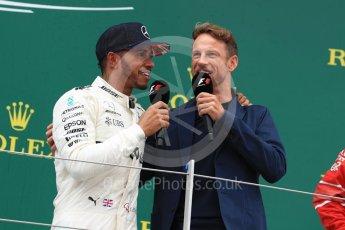 World © Octane Photographic Ltd. Formula 1 - British Grand Prix - Sunday - Race Podium. Lewis Hamilton - Mercedes AMG Petronas F1 W08 EQ Energy+ and Jenson Button. Silverstone, UK. Sunday 16th July 2017. Digital Ref: 1893LB1D5358